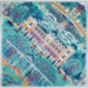 "Silk scarf ""Palace of Dreams"" (Hermesvilla), turquoise-green"