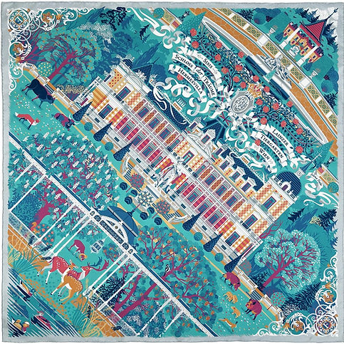 """Silk scarf """"Palace of Dreams"""" (Hermesvilla), turquoise-green"""