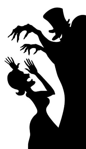 Window Cartoon Silhouette—Dr. Heckle & Mrs. Hide (single)