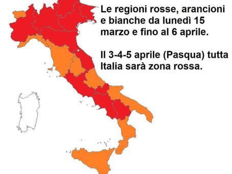 EMERGENZA COVID-19: LA NUOVA MAPPA DELL'ITALIA SINO A PASQUA.