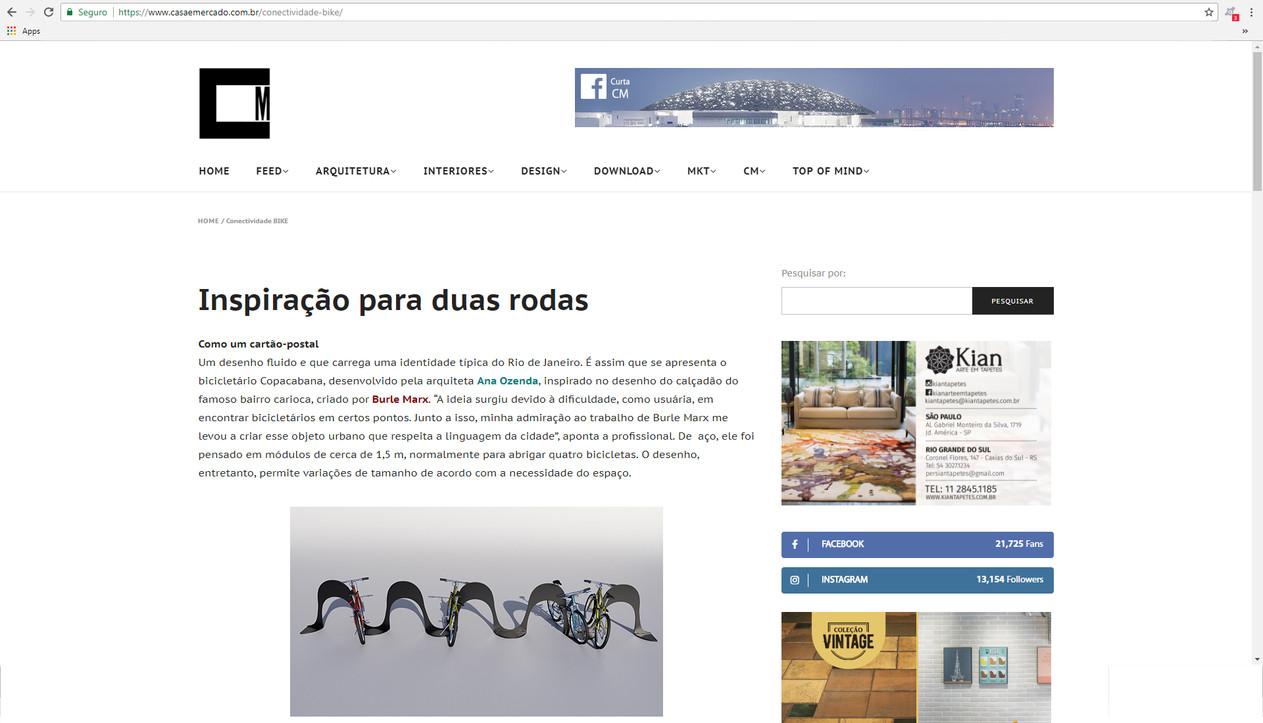 Publicação na Revista Casa & Mercado, Edição de Abril de 2018.