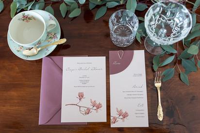 Pink magnolia flower bridal shower invitation