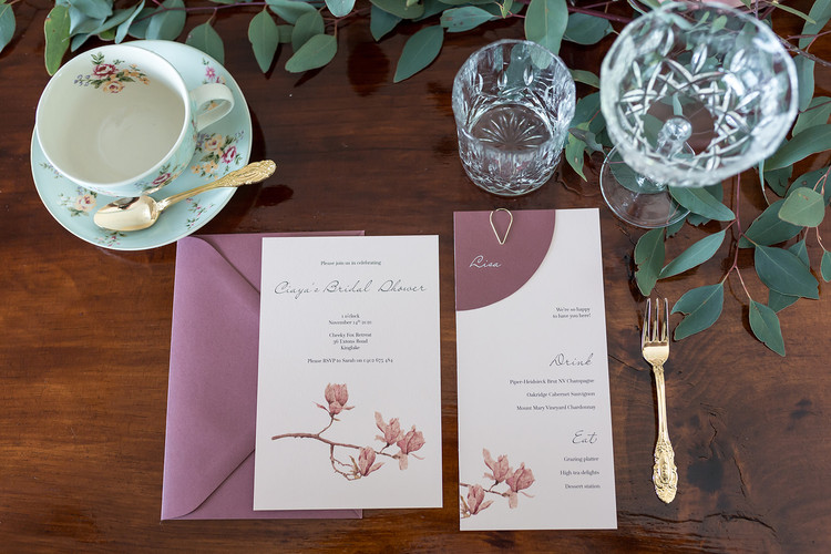 Bridal shower invitation and menu and place card