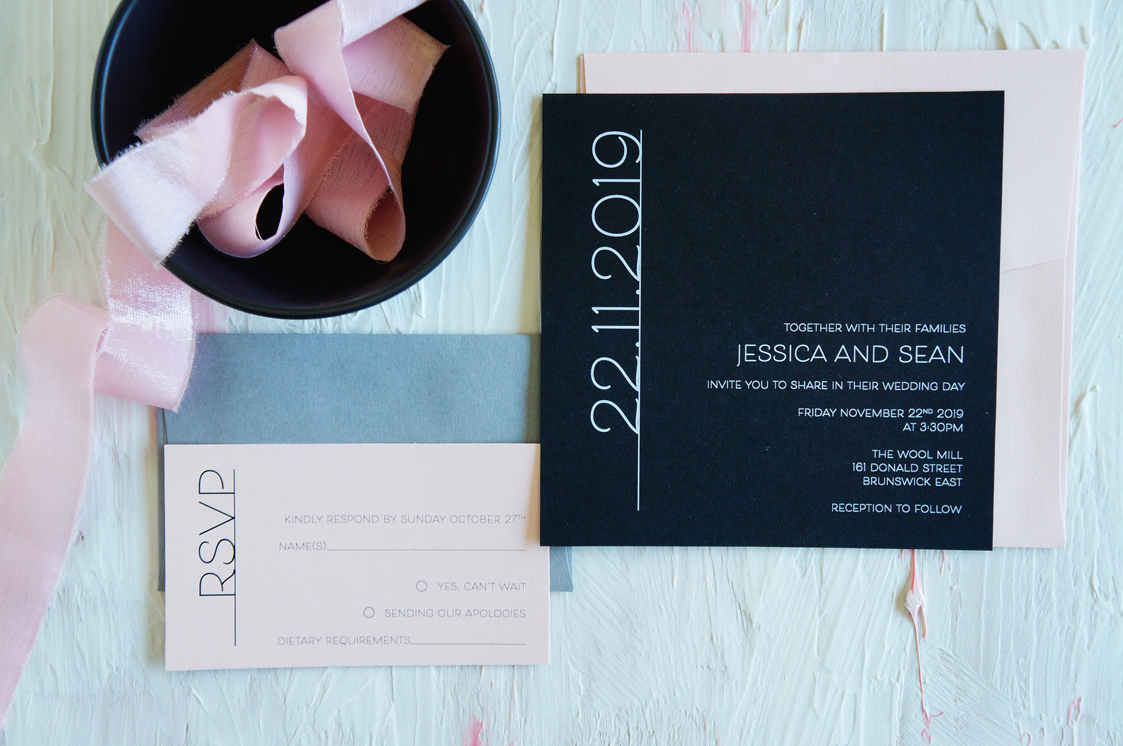 Black and pink wedding invitations