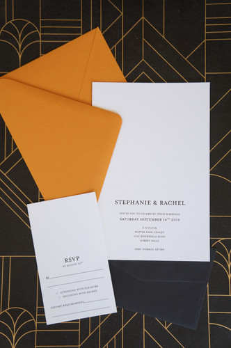 Amber wedding invitations