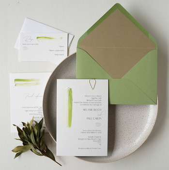 Green tropical hand-painted wedding invitations