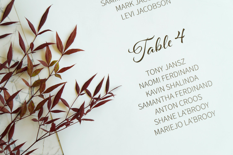 Table seating chart