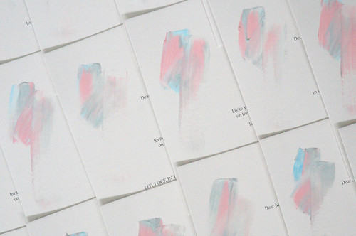 Blue and pink hand-painted wedding invitations