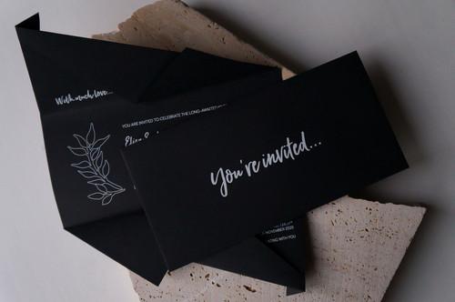 Black and white minimalist origami wedding inviations