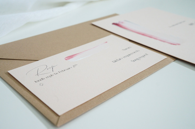Hand painted RSVP card with a brown envelope