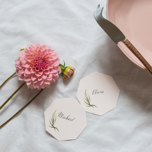 Octagon wedding place cards