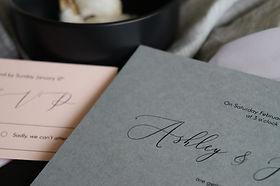 Grey and pink classic minimalist wedding invitation with cursive script font