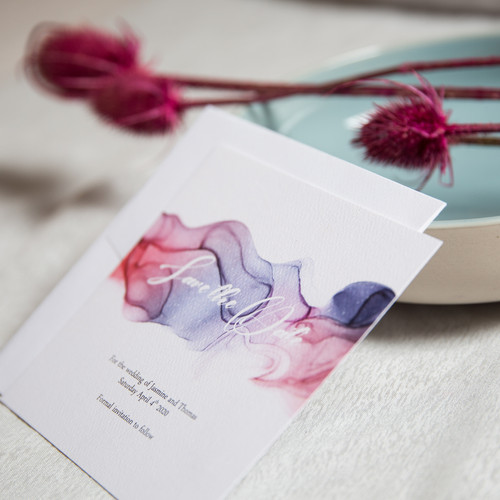 Alcohol ink wedding invitations