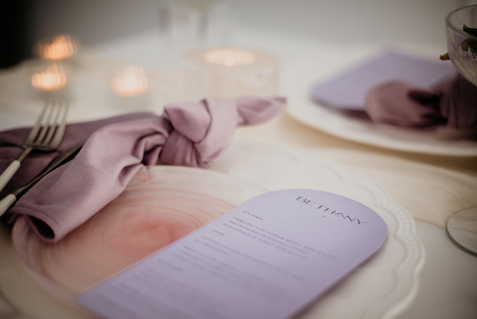 Lavender place card menu