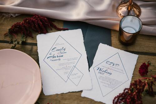 Indie handmade cotton invitations
