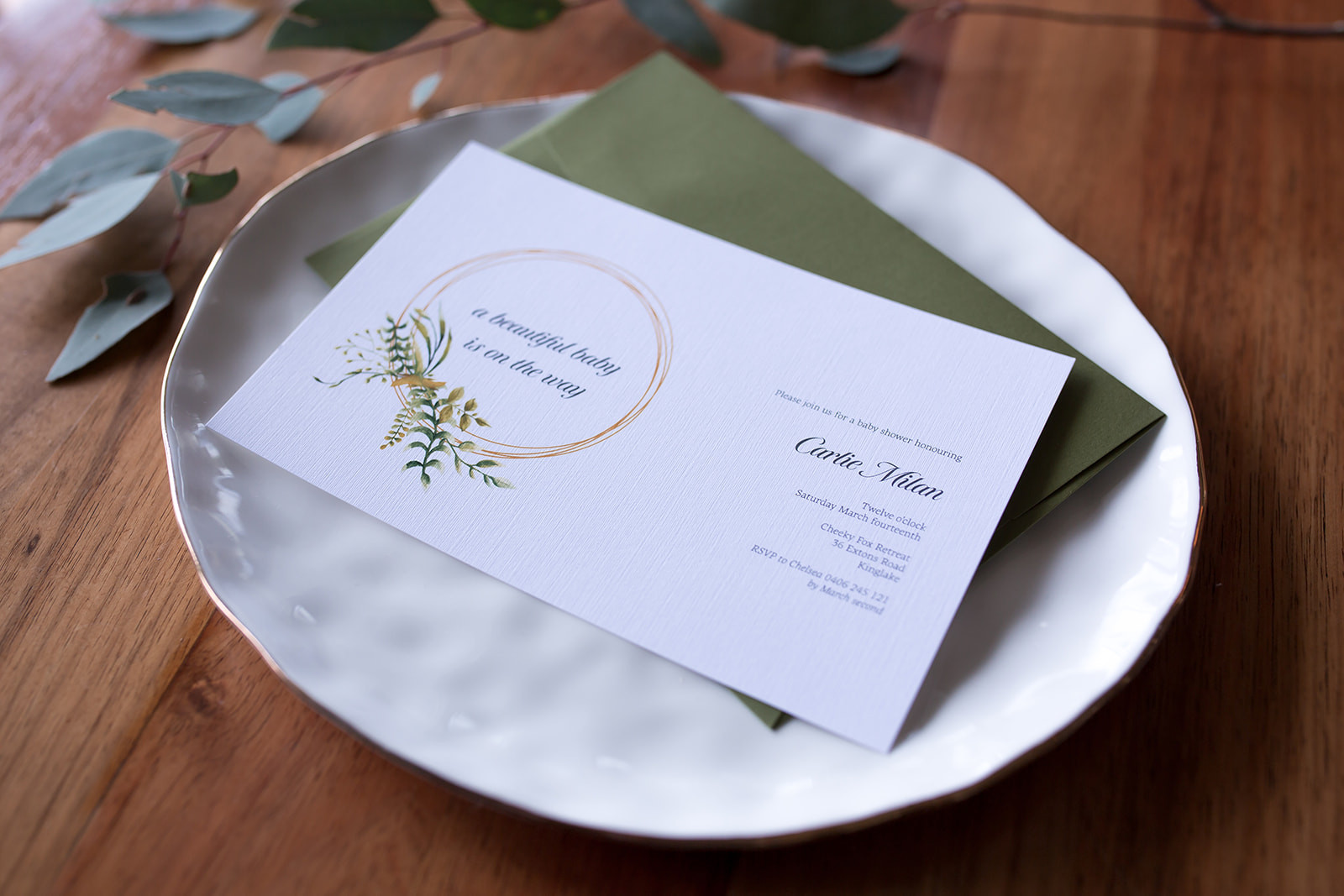 Baby shower greenery invitation