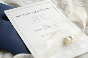 Blue art deco wedding invitation