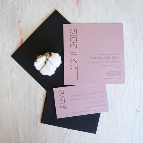 Pink and black wedding invitations