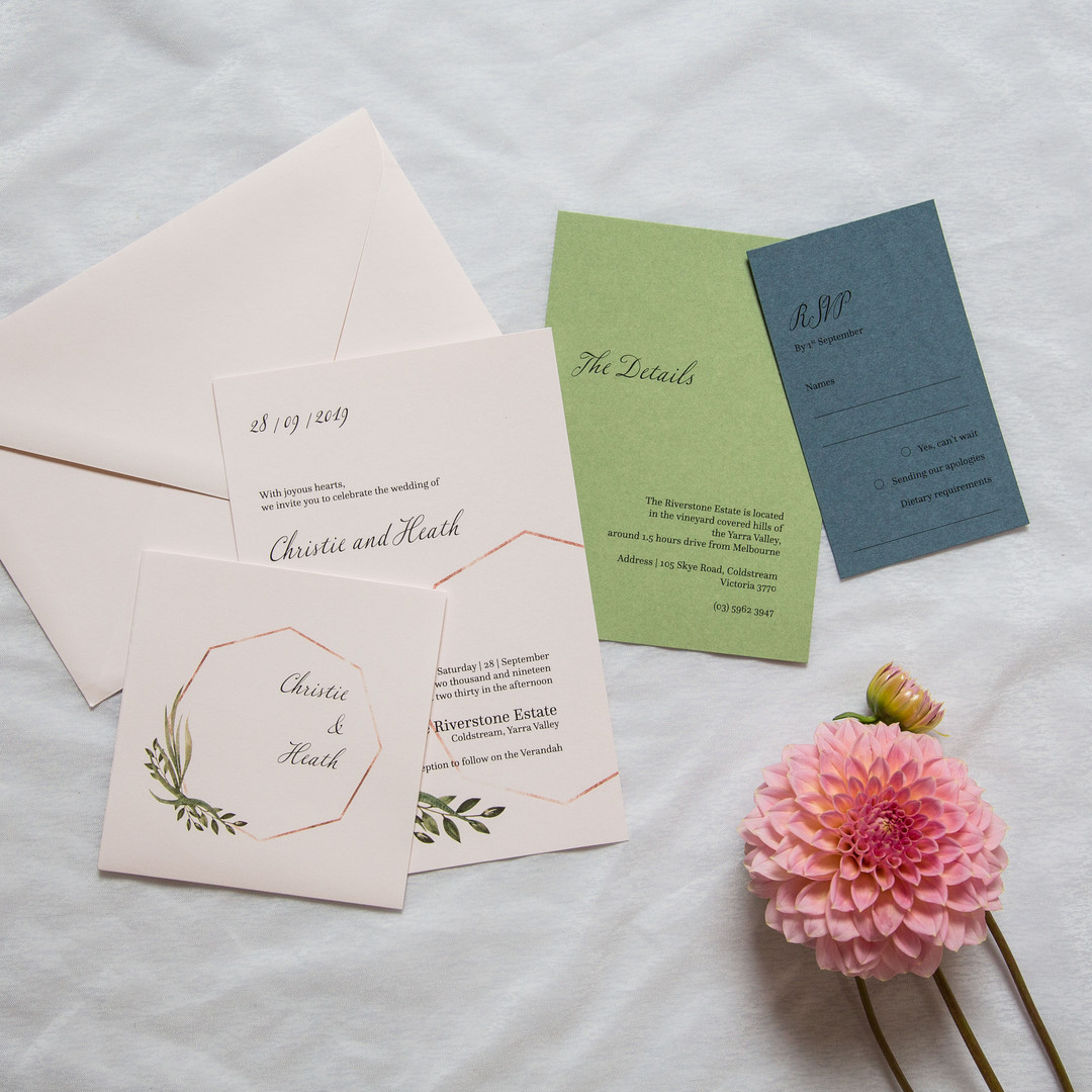 Greenery foliage invitations