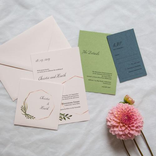 Greenery foliage invitations
