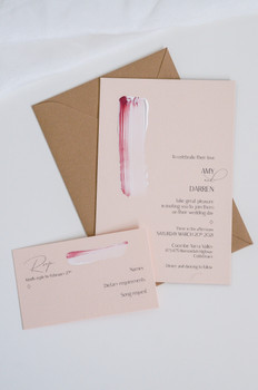 Hand painted peach wedding invitations
