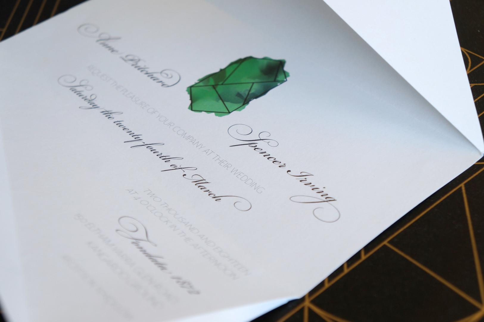 Emerald wedding invitations