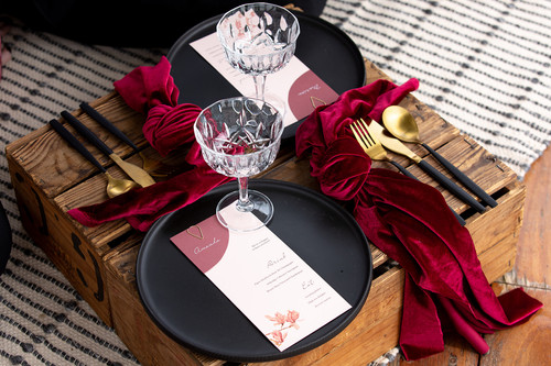 Layered menu and place card with clasp