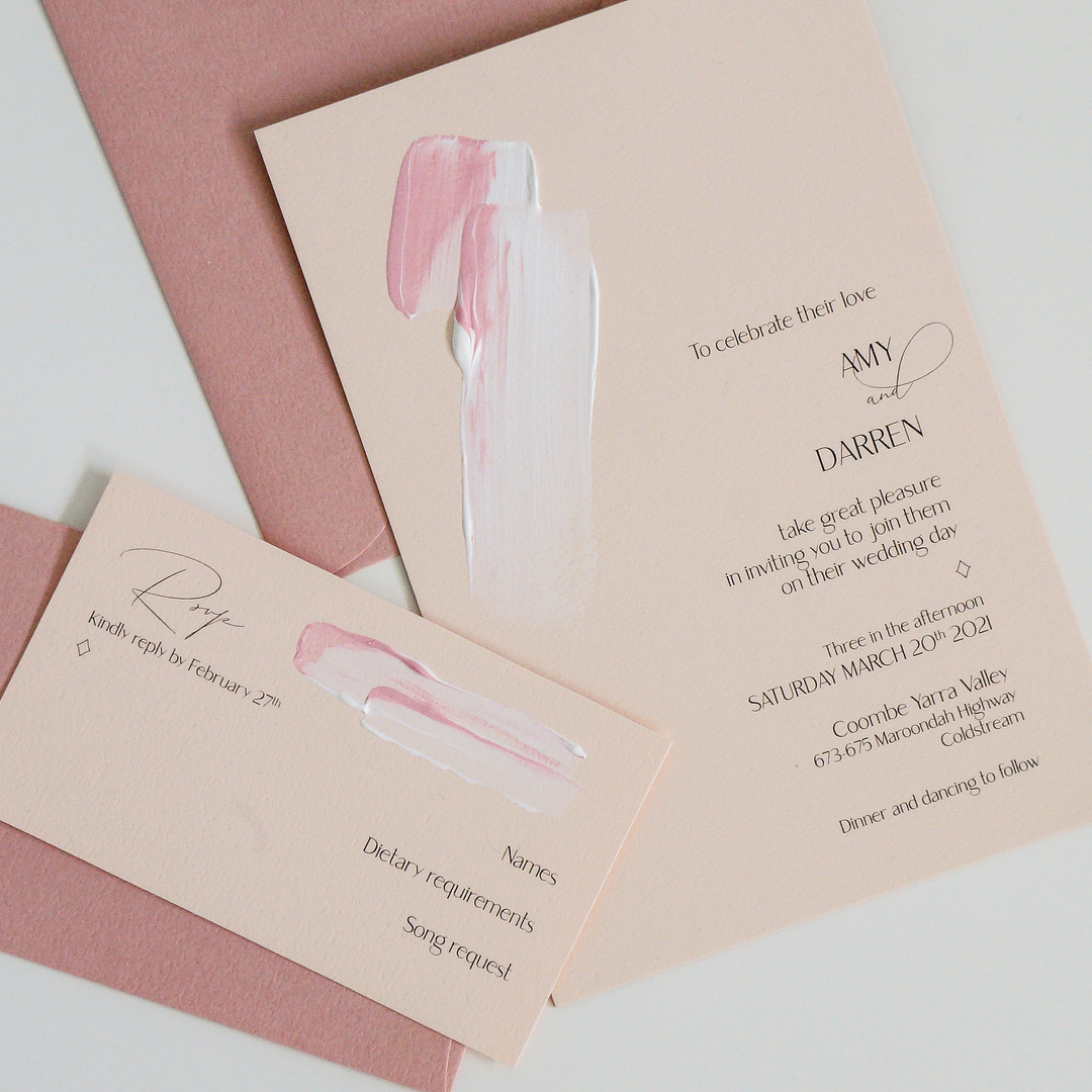 Pink and peach hand painted wedding invitations