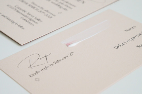 Pink hand painted RSVP card with a minimal script font