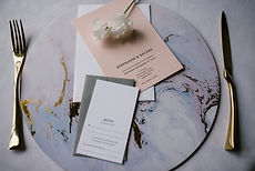 Pink and white classic minimal mix and match wedding invitations with white and grey envelopes