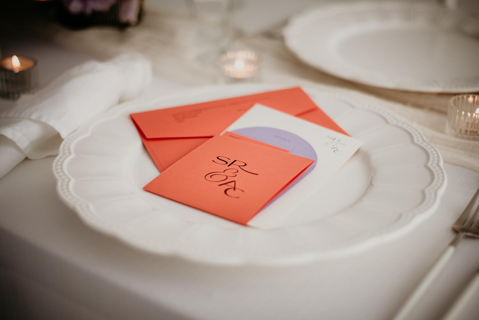 Orange and ivory wedding invitation suite