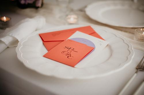 Orange and lilac unique wedding invitation