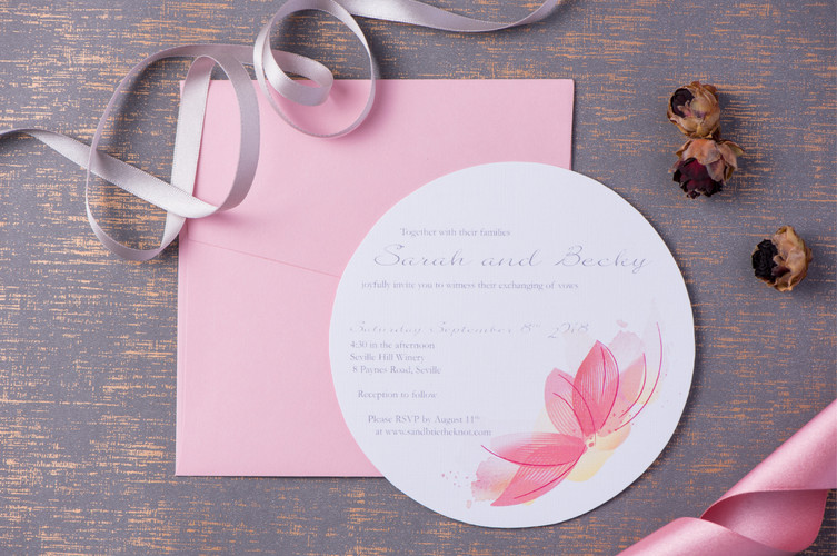 Round wedding invitations