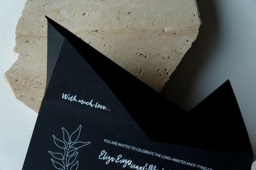 Black and white origami wedding invitations