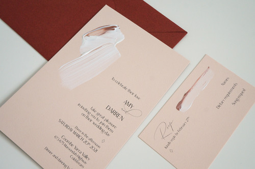 Hand painted unique wedding invitations and rsvp card