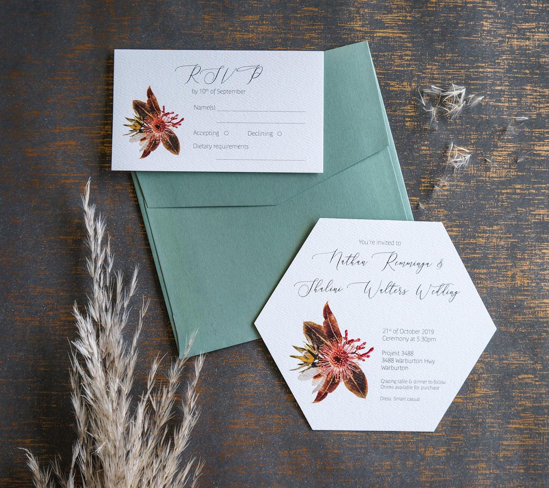 Australian native floral wedding invitations