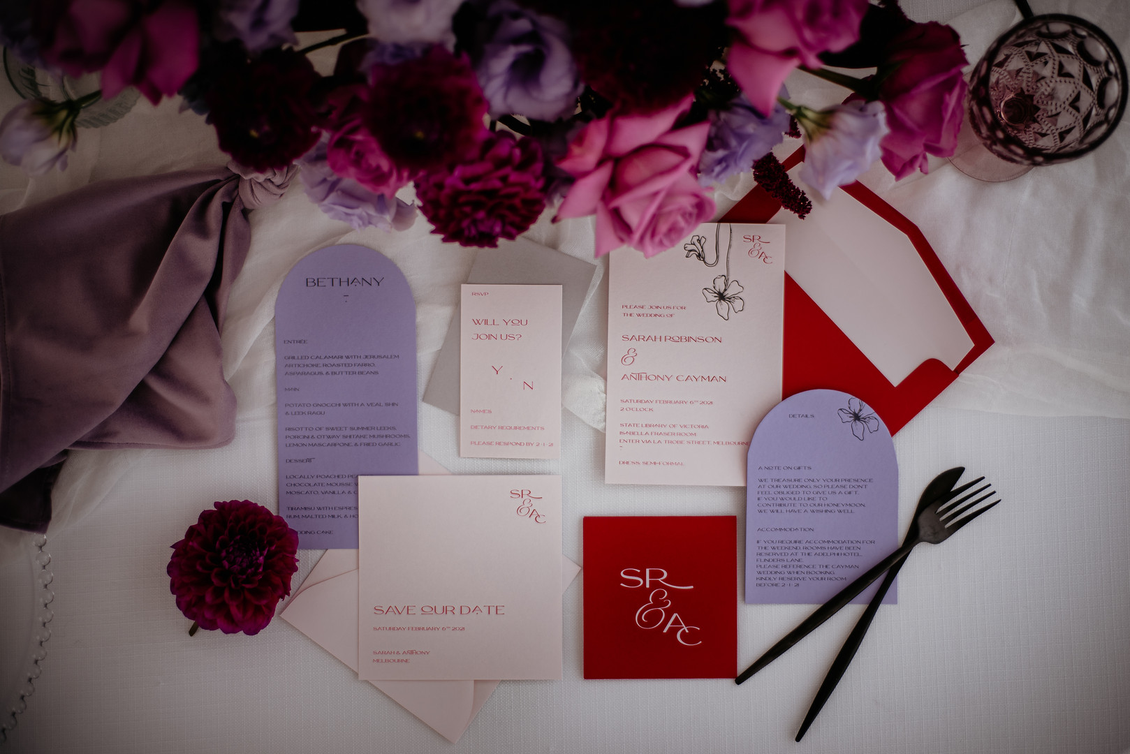 Red and lavender wedding invitation
