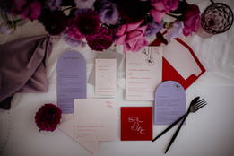 Lavender and red romantic invitations