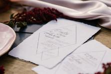 Handmade cotton paper wedding invitation with soft elegant design
