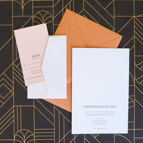 Terracotta wedding invitations