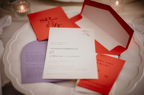 Tangerine and lavender wedding invitations