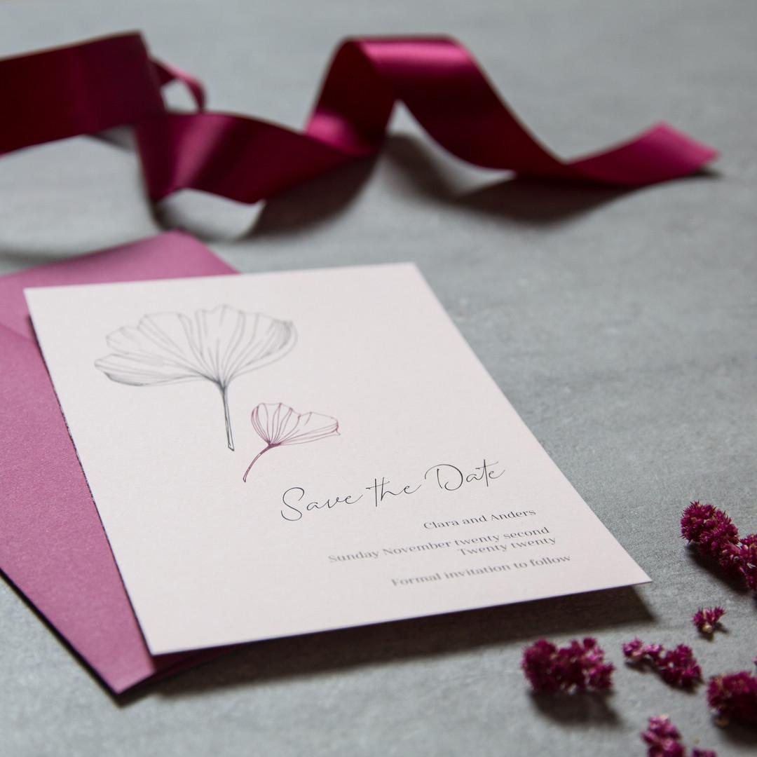 Ginkgo leaf wedding invitations