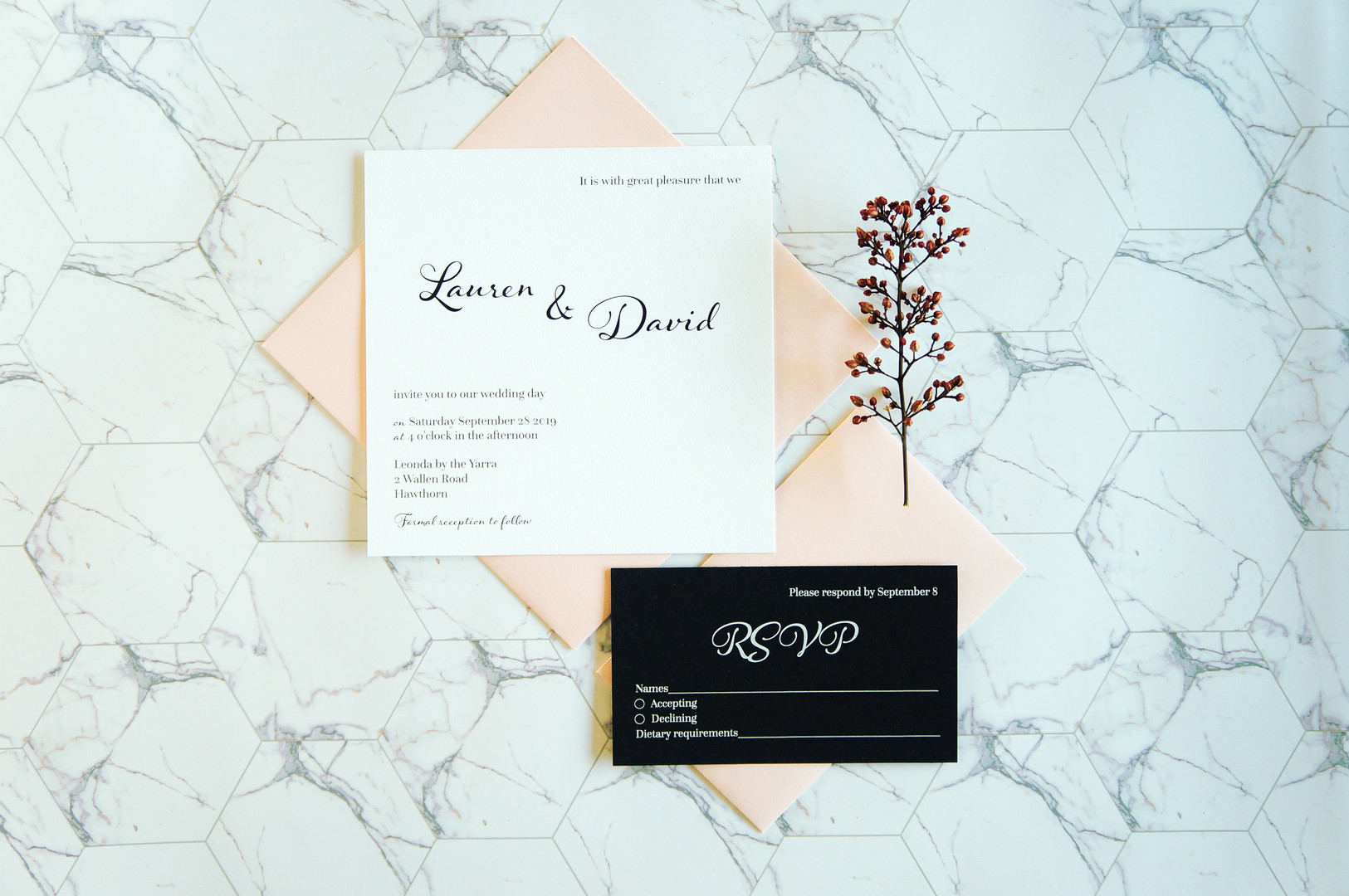 Pink and white wedding invitations