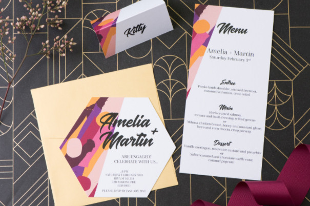 Bold hexagon engagement invitation and matching menu and place card