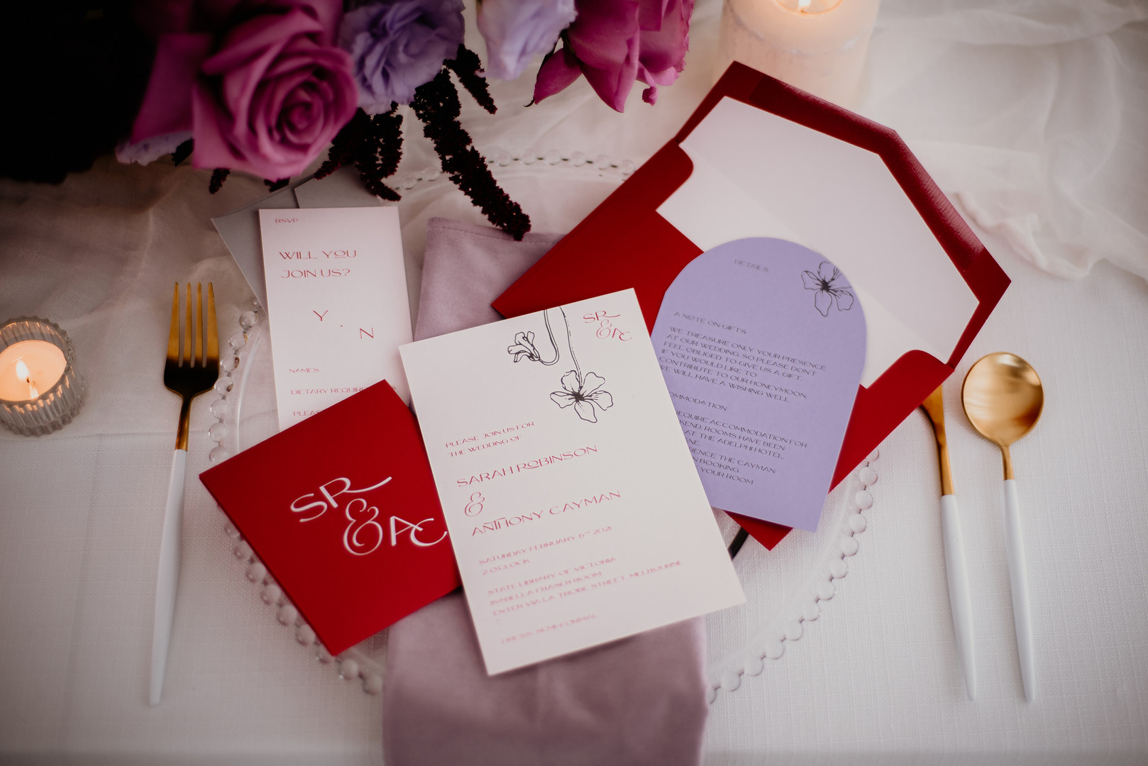 Red, nude, and lavender wedding invitation suite