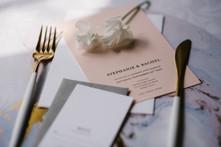 Minimalist pink and white wedding invitation