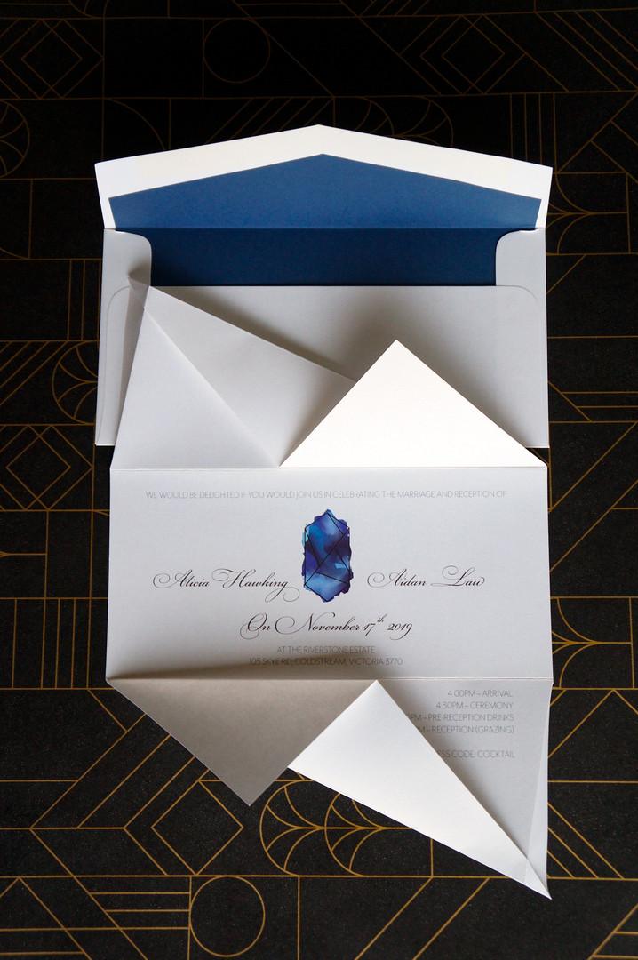 Blue hand folded origami wedding invitations