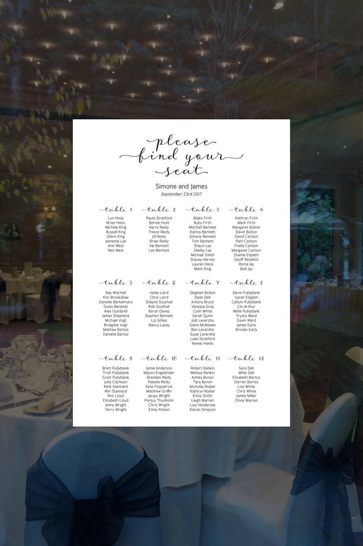 Digital table seating chart