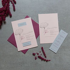 Pink and purple wedding invitations with the most unique rsvp card insert and a simple ginkgo leaf design