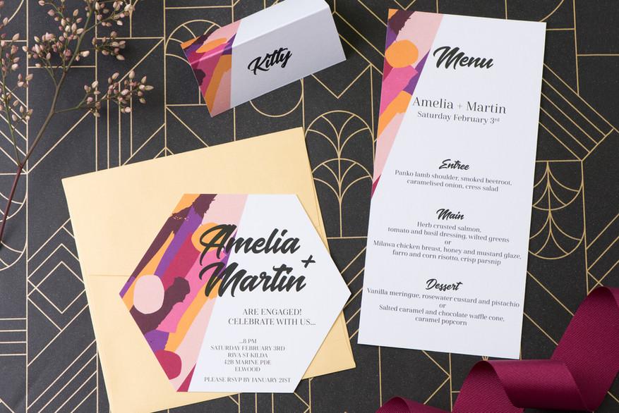 Bright and colourful hexagon wedding invitations
